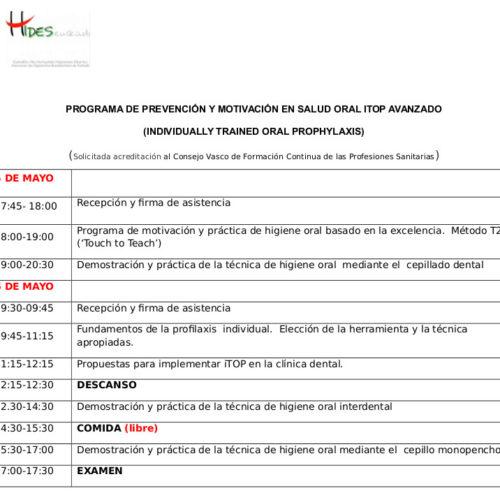 horario curso Itop Bilbao mayo 2017