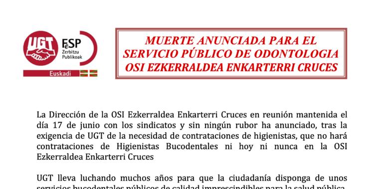 Muerte anunciada para el servicio público de odontología OSI Ezkerraldea Enkarterri Cruces