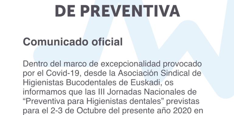 Comunicado oficial – Jornadas de preventiva